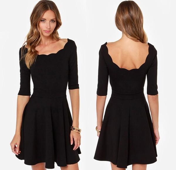 2a275c168de Black Plain Wavy Edge Neckline Half Sleeve Draped Knit Mini Dress ...