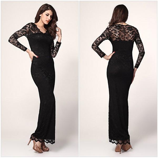 black plain lace long sleeve lace hem ankle cotton maxi dress