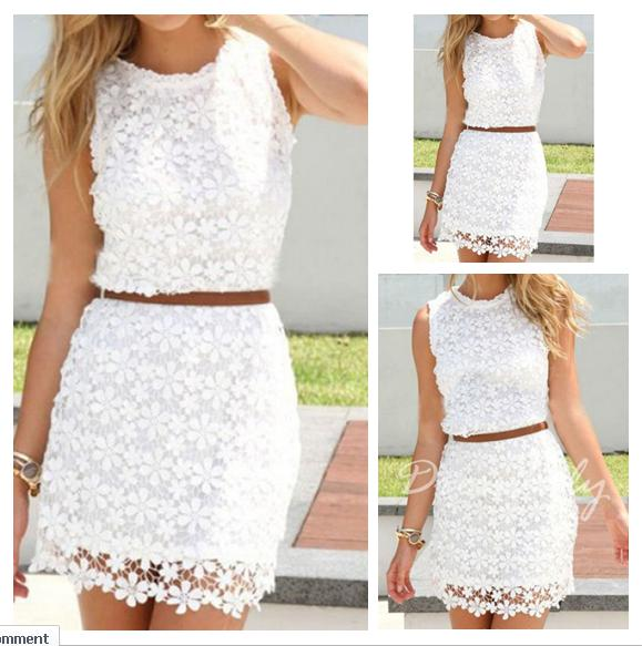 597ec021fd White Floral Hollow-out Bodycon Hip Short Package Crochet Sleeveless ...