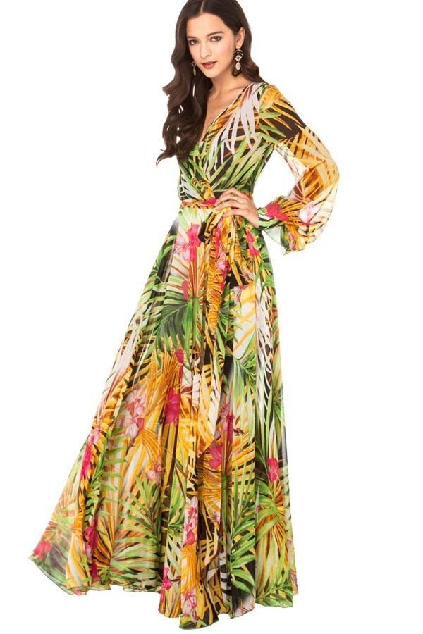Multicolor Flower Print Cap Sleeve Long Chiffon Dress - Maxi ...