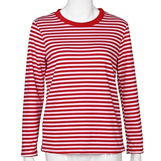 75f324181 Red-White Striped Print Long Sleeve Round Neck Fall Fashion Casual T ...