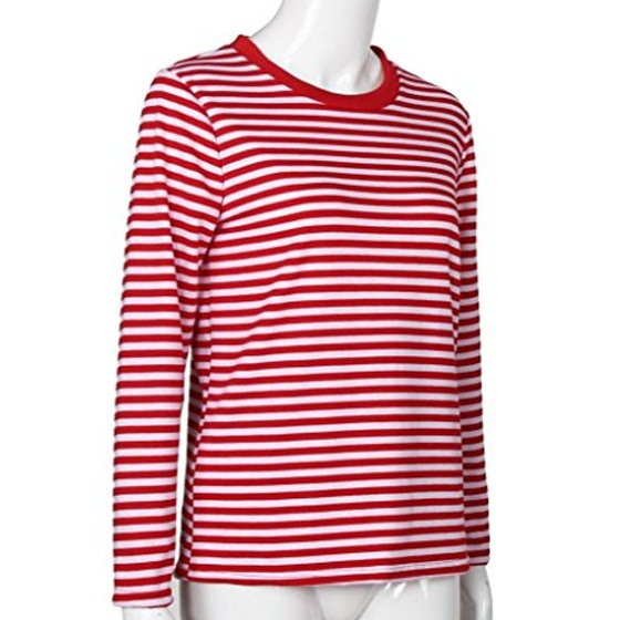Red-White Striped Print Long Sleeve Round Neck Fall Fashion Casual ...