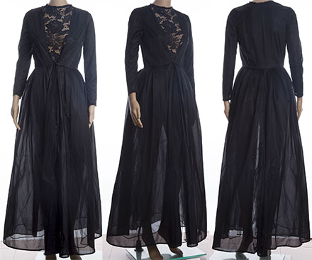 65ed43d6d00 Black Patchwork Lace Round Neck Long Sleeve fashion Two Piece Prom ...