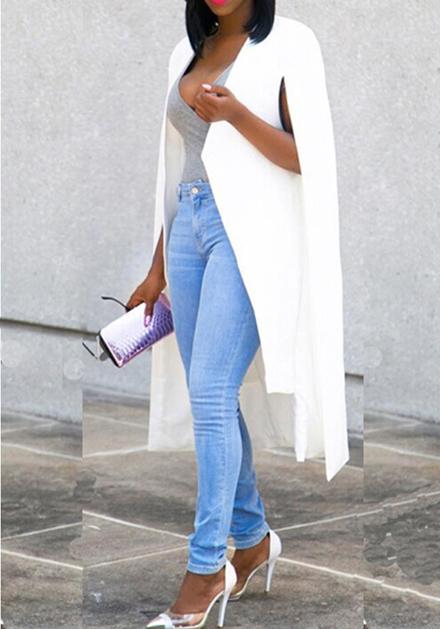 dcf190a688c3e4 Mi-longue blazer manches longues mode élégant femme ouvert cape veste blanc