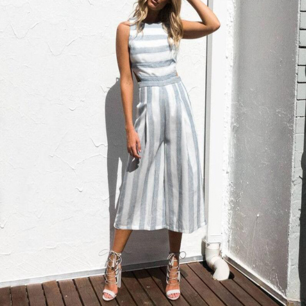 ab4d06b1da3 Grey Striped Pockets Cut Out Zipper Fashion Seven s Palazzo Jumpsuit ...