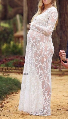 b997a0f9ba8 White Floral Lace Hollow-out See-through Plus Size Maternity Maxi ...