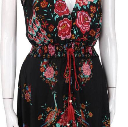 66f7b5a390 Black Floral Ruffle Irregular Drawstring High-Low Deep V-neck Casual ...