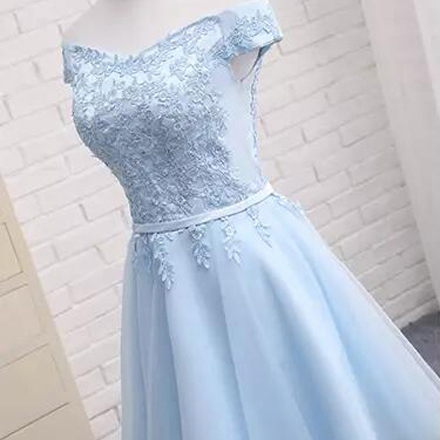 1aa0fbb20d5 Light Blue Drawstring Lace Off Shoulder Fluffy Puffy Tutu Homecoming ...
