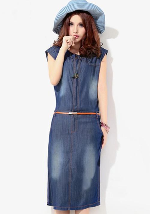 Blue Belt Round Neck Below Knee Denim Dress Midi Dresses
