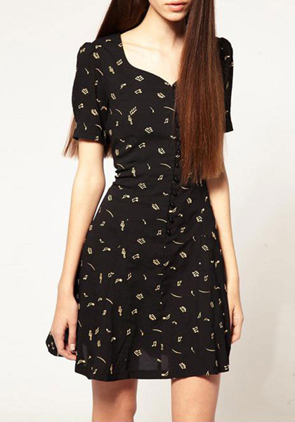Black Print Heart-Shaped Neckline Short Sleeve Chiffon Dress - Midi Dresses - Dresses