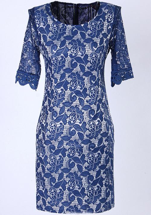 Sapphire Blue Half Sleeve Knee Length Lace Dress Midi