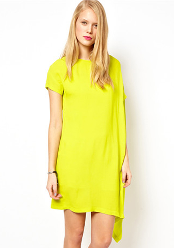 Yellow Plain Short Sleeve Loose Mini Dress Mini Dresses