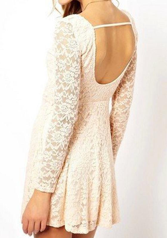 Beige Plain Long Sleeve Lace Mini Dress Mini Dresses