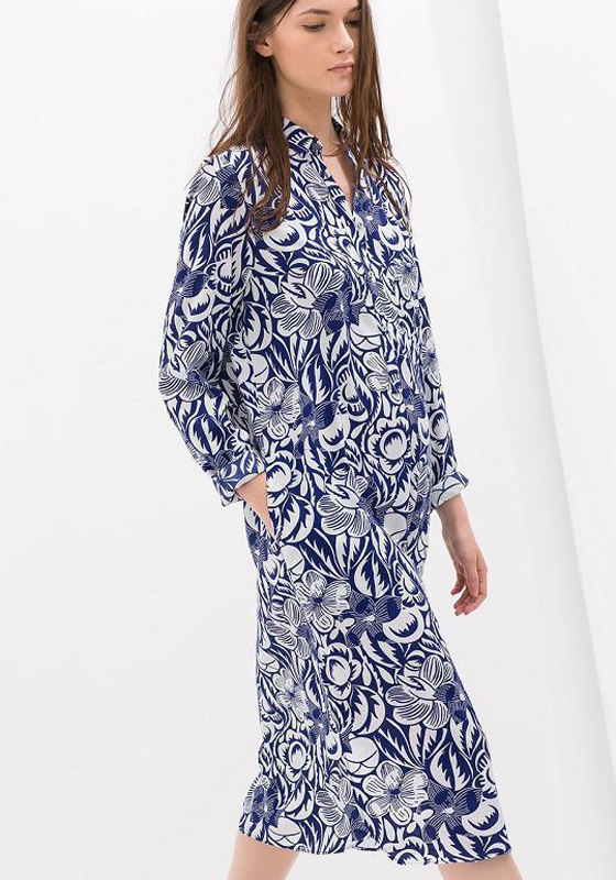 Blue Floral Print Buttons Maternity Long Sleeve Fall Loose