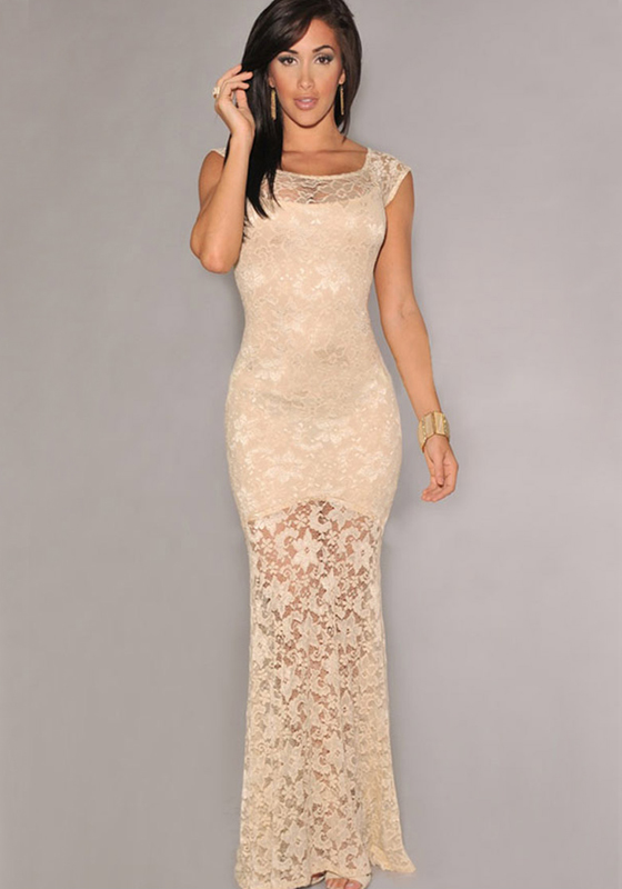 Beige Plain Short Sleeve Lace Maxi Dress - Dresses