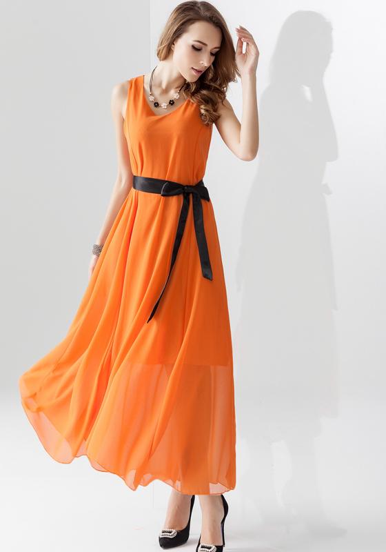 Orange Plain Belt Sleeveless Chiffon Maxi Dress