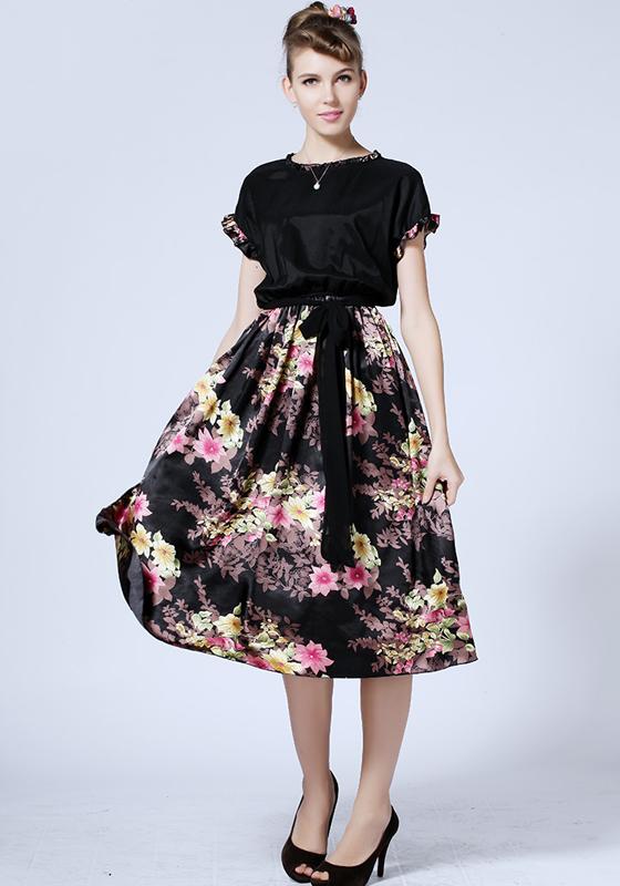 Black Floral Belt Short Sleeve Chiffon Maxi Dress Dresses