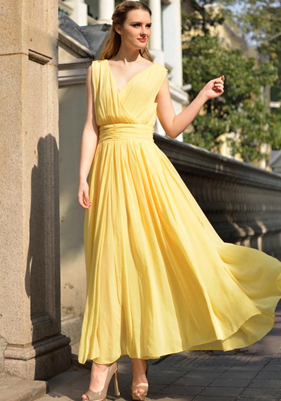 Yellow Plain Sleeveless Chiffon Maxi Dress Dresses