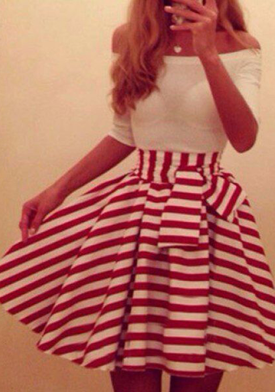Red And White Striped Patchwork Bow Off Shoulder Boat Neck
