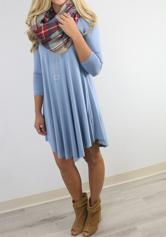 Light Blue Plain Asymmetrical Hem Round Neck Midi Dress
