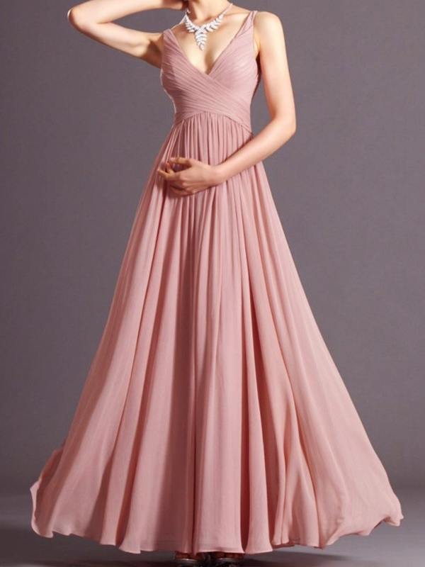 Women Dusky Pink Pleated V Neck Spaghetti Straps Prom