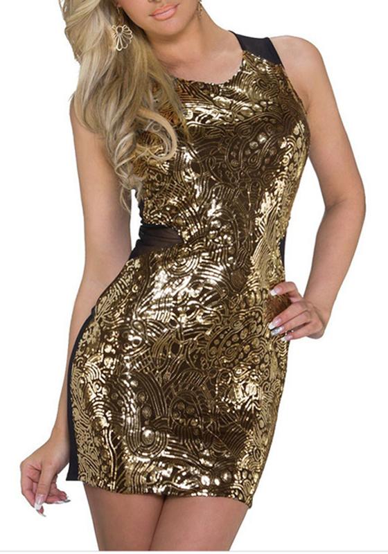 goldene paillette flickwerk rmellos rundhalsausschnitt mode minikleid minikleider kleider. Black Bedroom Furniture Sets. Home Design Ideas