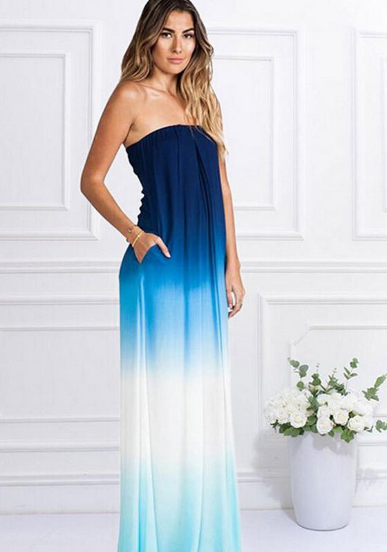 Blue Color Block Pockets Bandeau Casual Maxi Dress Maxi