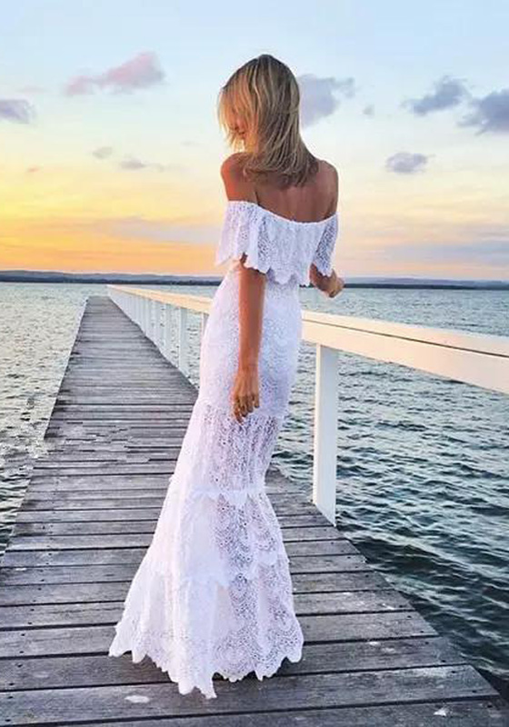 white patchwork lace bandeau off shoulder wedding party maxi dress maxi dresses dresses. Black Bedroom Furniture Sets. Home Design Ideas