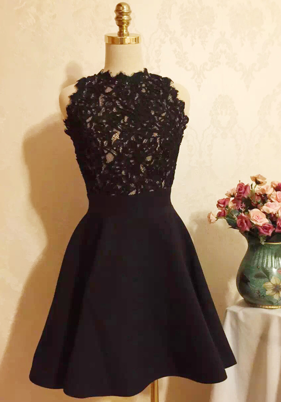 Black Patchwork Lace Pleated Bridesmaid Dresses Cute Party