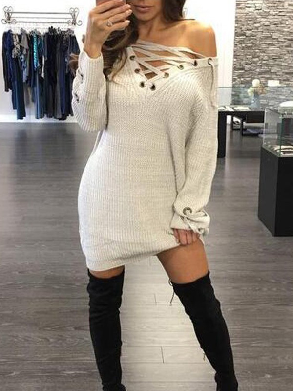 679890ee64 White Solid Lace-Up Metal Grommets V-neck Knitted Sweater Mini Dress - Mini  Dresses - Dresses