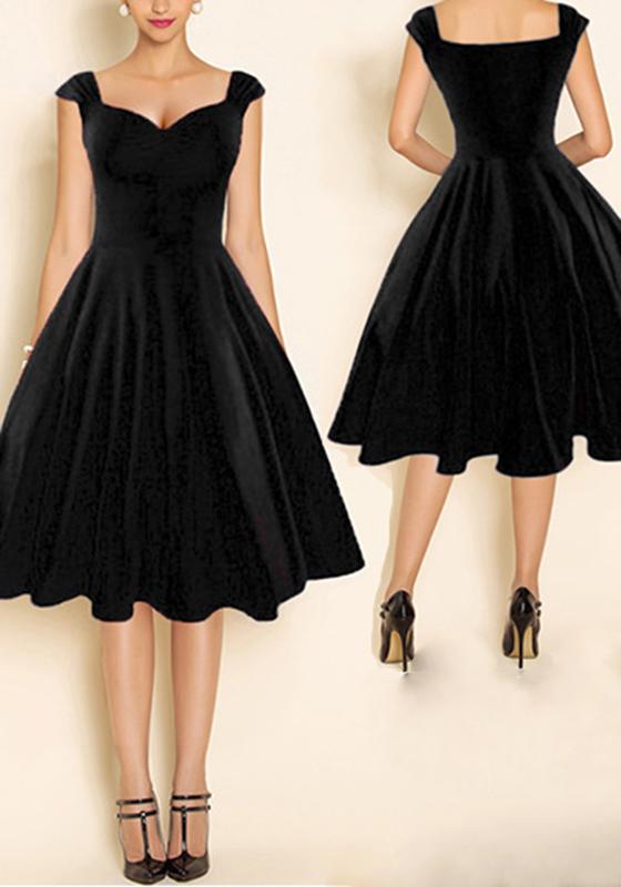 Black Plain Pleated Backless Tutu Audrey Hepburn 50S ...