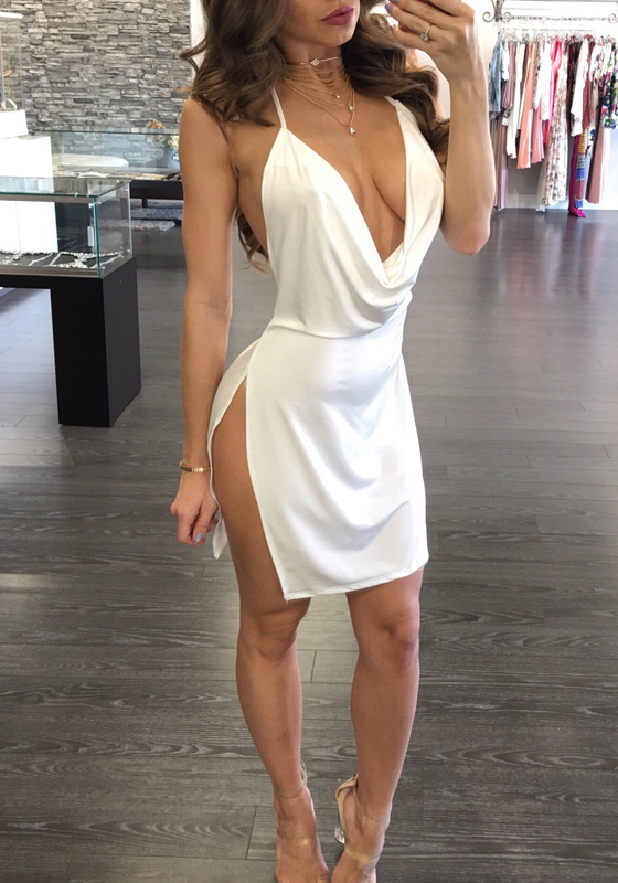 White Women S Sexy Deep V Neck Halter Backless Slit Mini