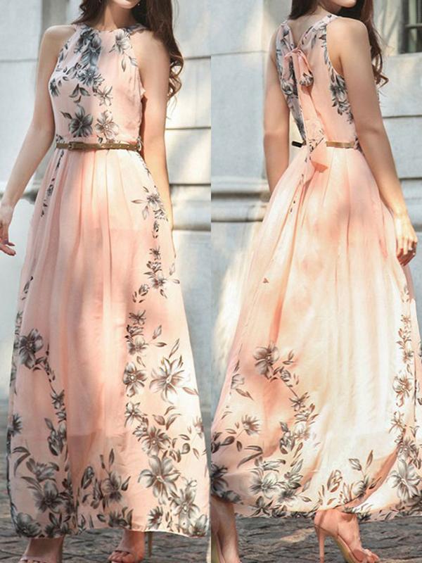 robe maxi longue fleuri drap avec ceinture mousseline. Black Bedroom Furniture Sets. Home Design Ideas