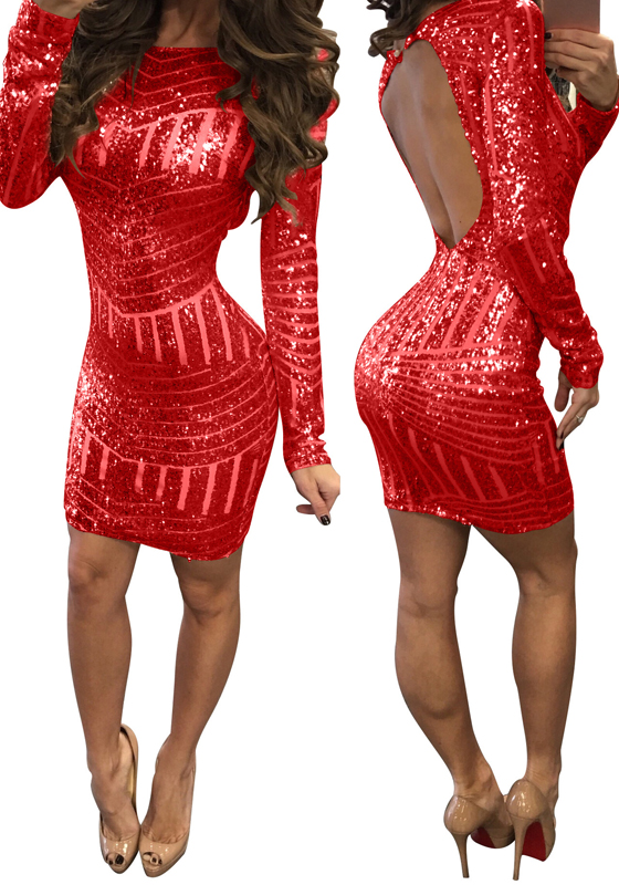 Red Plain Sequin Cut Out Backless Long Sleeve Bodycon