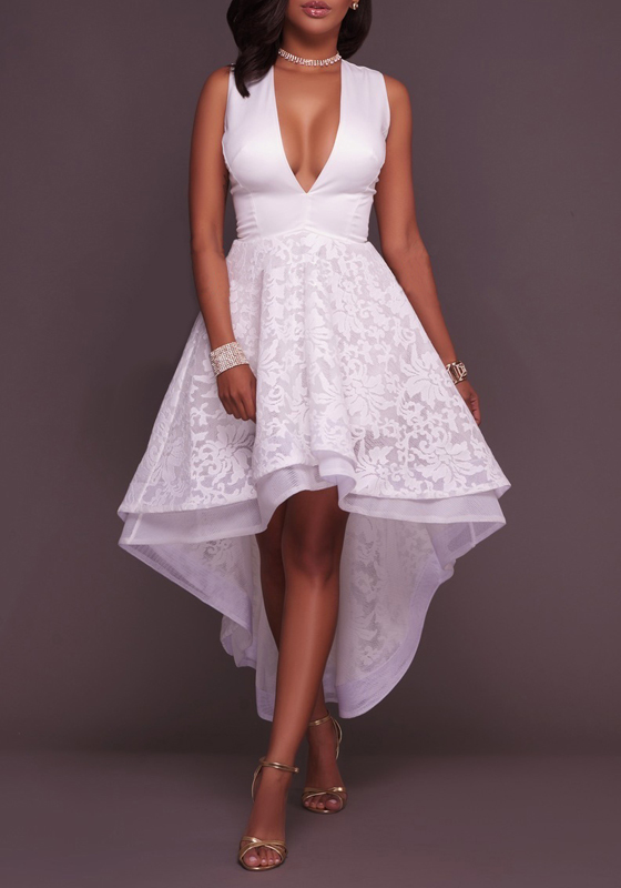 White Patchwork Lace Zipper Swallowtail High-low Wedding ...