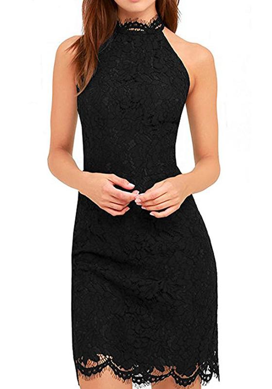 black plain lace sleeveless fashion slim midi dress midi. Black Bedroom Furniture Sets. Home Design Ideas