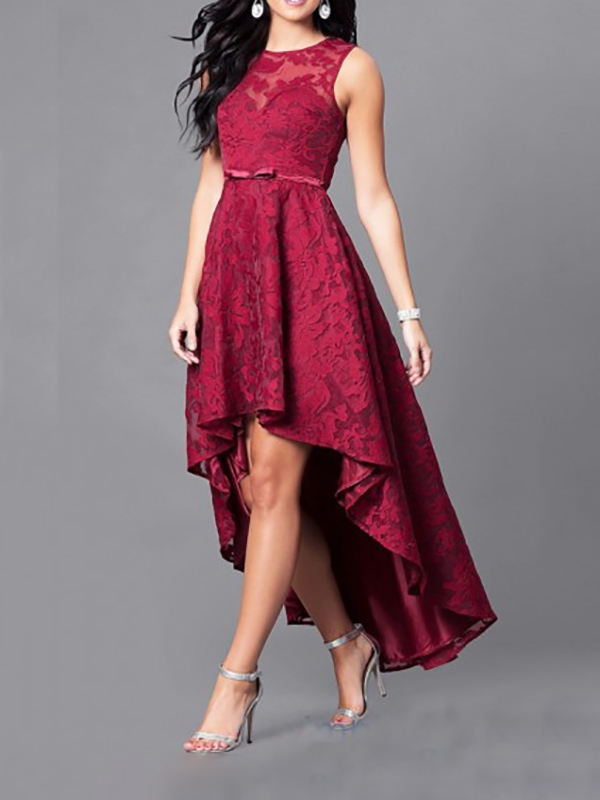 burgundy patchwork lace embroidery high low sleeveless formal evening party prom maxi dress. Black Bedroom Furniture Sets. Home Design Ideas