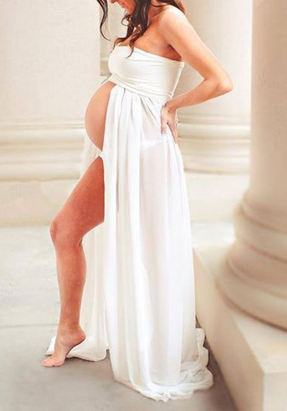 White Bandeau Off Shoulder Slit Pregnant Women Maxi Dress