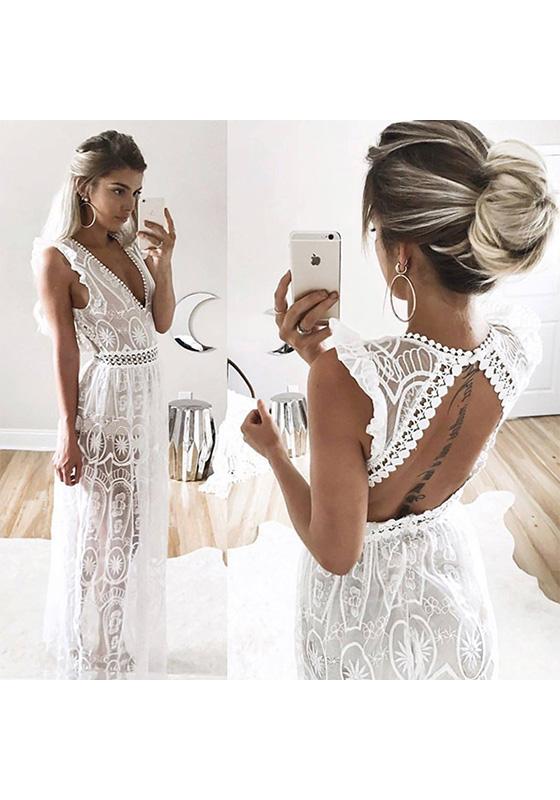 robe longue en dentelle dos nu volant e d collet plongeant sans manches de soir e blanc robe. Black Bedroom Furniture Sets. Home Design Ideas