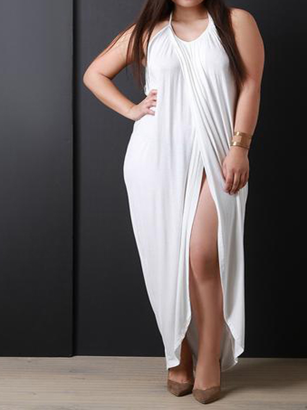 White Chiffon Front Silt Casual Style Backless Halter Top: White Swallowtail Tie Back Halter Neck Slit Backless Plus