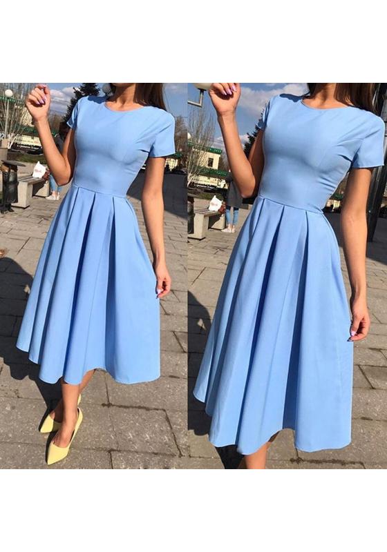 light blue pleated round neck short sleeve fashion midi