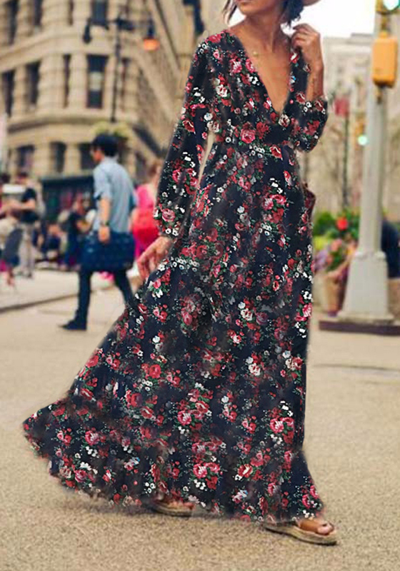 longue robe imprim fleurs d collet plongeant manches longues boheme bleu fonc robe longue. Black Bedroom Furniture Sets. Home Design Ideas
