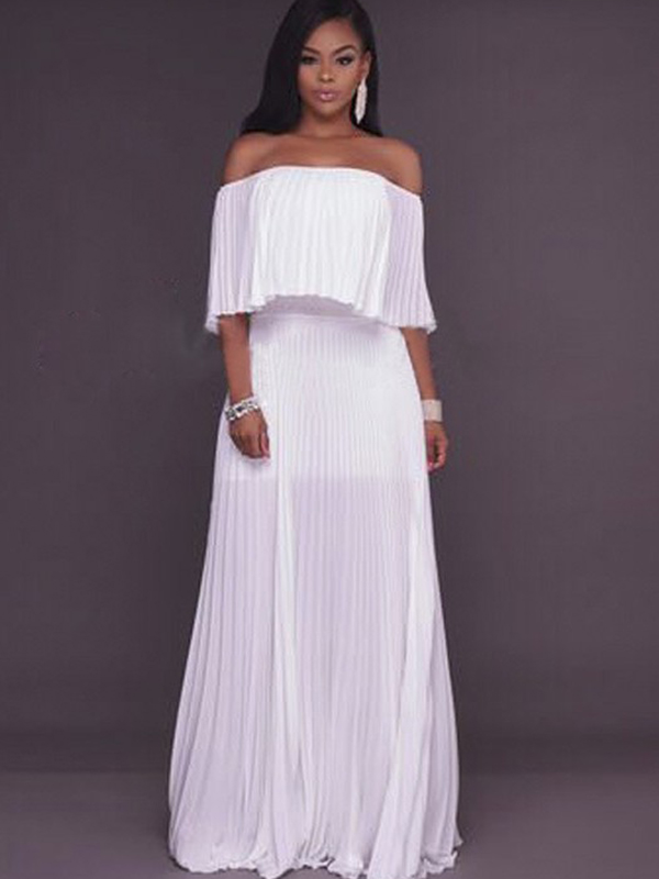 White Ruffle Bandeau Off Shoulder Chiffon Ruched Formal