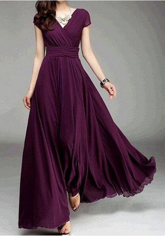 Burgundy Draped V Neck High Waisted Prom Evening Party
