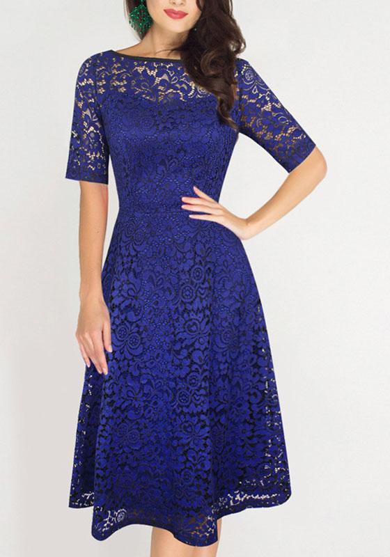 blau spitze rundhals drapierte elegante knielang retro