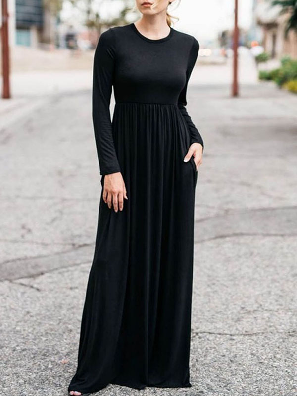 Black Draped Pockets Round Neck Long Sleeve Casual Maxi