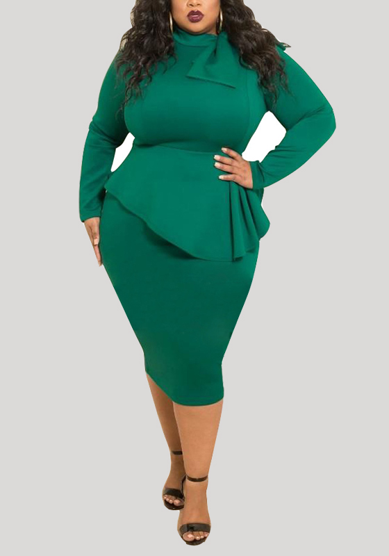 Green Draped Peplum Bowknot St Patrick S Day Long Sleeve