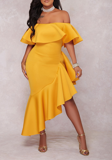 Yellow Ruffle Irregular Off Shoulder Backless High-Low