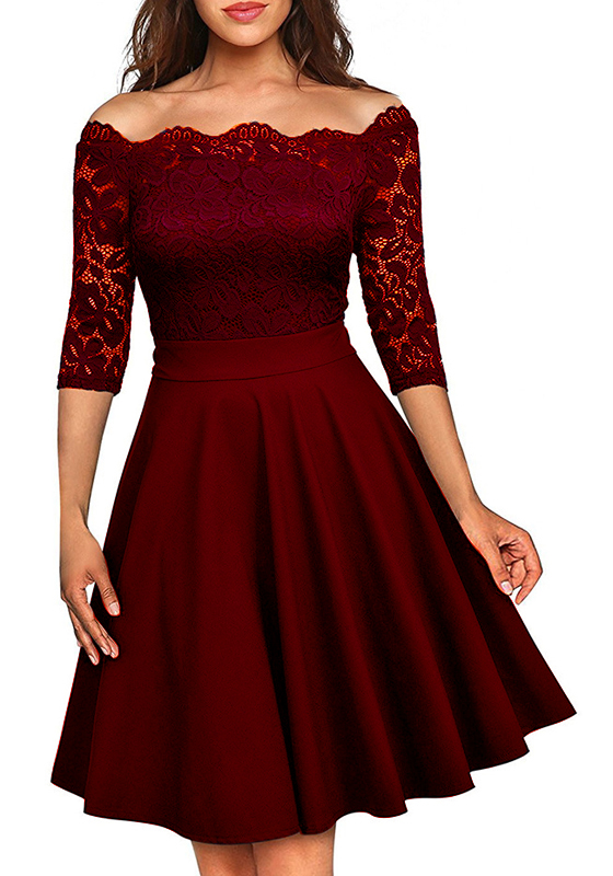 Wine Red Patchwork Irregular Lace Boat Neck 3 4 Sleeve