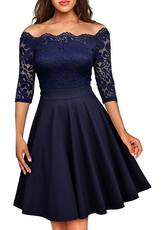 mi longue robe avec dentelle col bateau manches au coude tutu l gant de cocktail bleu nuit. Black Bedroom Furniture Sets. Home Design Ideas